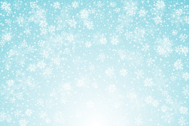 Fondo de nieve realista Vector Premium