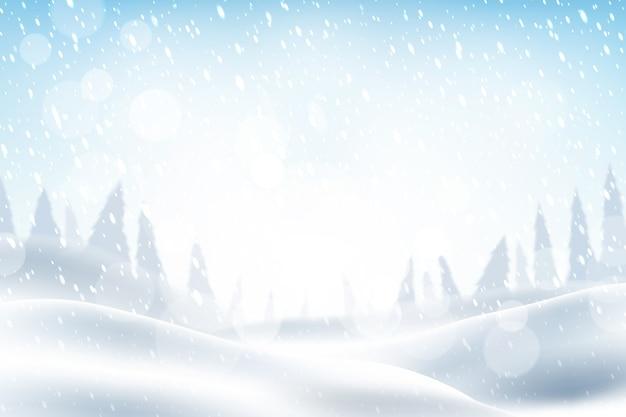 Fondo de nieve realista vector gratuito