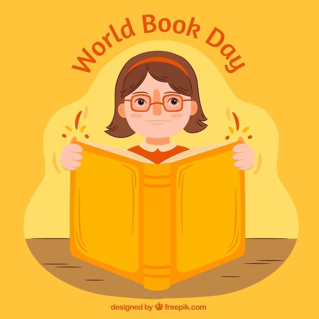 Fondo de niña leyendo un gran libro vector gratuito