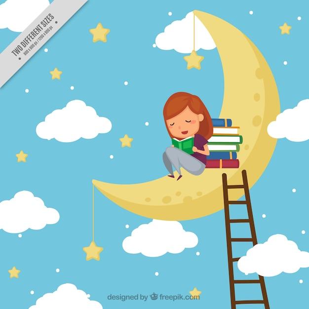 Fondo de niña leyendo libros en la luna vector gratuito