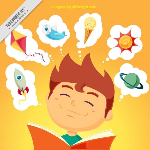 Fondo de niño feliz leyendo vector gratuito