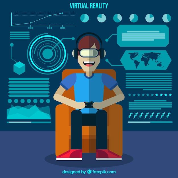 Fondo de niño sonriente jugando con gafas virtuales vector gratuito