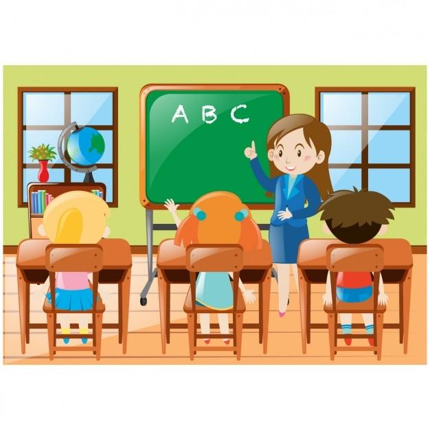Fondo de niños en clase vector gratuito