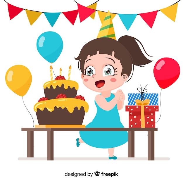 Fondo de niños de cumpleaños en diseño plano vector gratuito