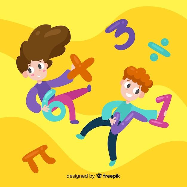 Fondo niños dibujos animados concepto matemáticas vector gratuito
