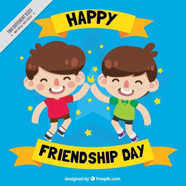 Fondo De Niños De Dibujos Celebrando El Día De La Amistad