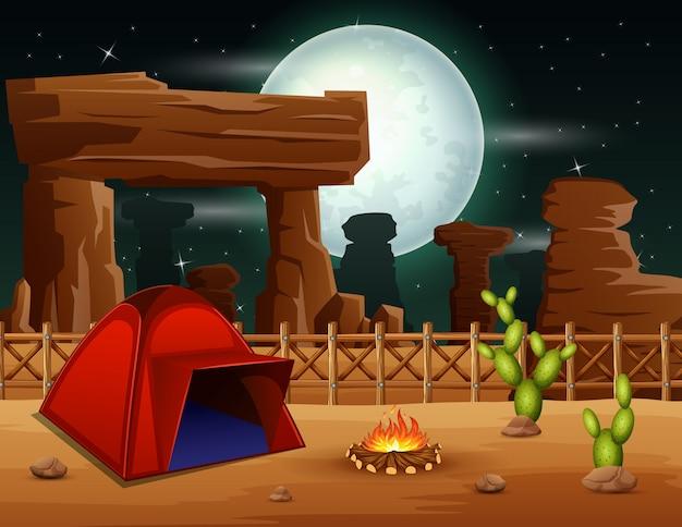Fondo de noche de camping en el desierto. Vector Premium