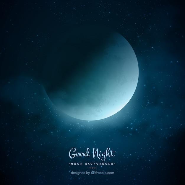 Fondo nocturno de luna vector gratuito