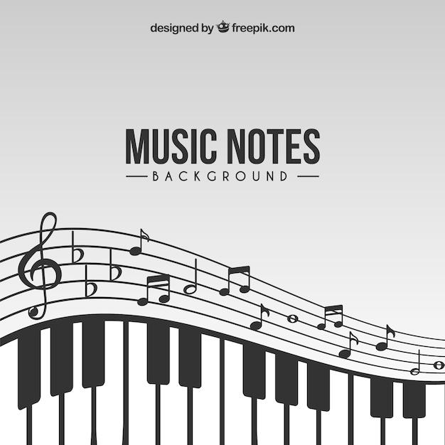 Fondo de notas de música con piano vector gratuito