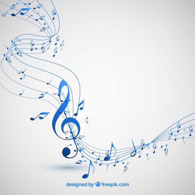 Fondo de notas musicales Vector Premium