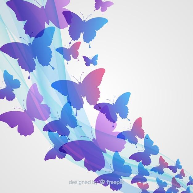 Fondo nube de siluetas de mariposas degradada vector gratuito