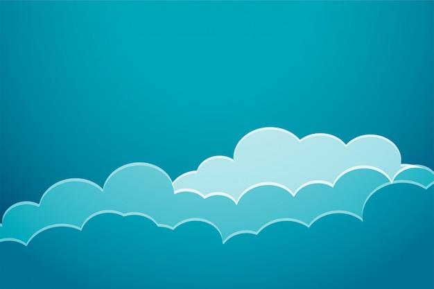 Fondo de nubes azules de estilo de corte de papel vector gratuito