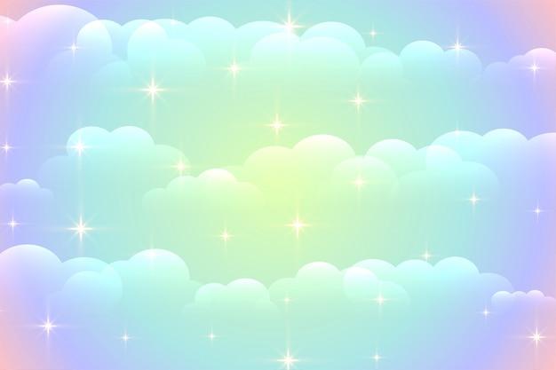 Fondo de nubes vibrantes con estrellas brillantes vector gratuito