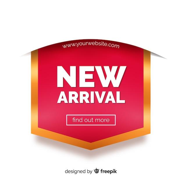 Fondo de nueva llegada con tipografía Vector Premium