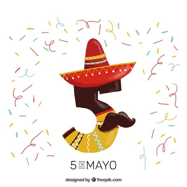 Fondo de número cinco divertido con sombrero mexicano y bigote ... 2d65c730970