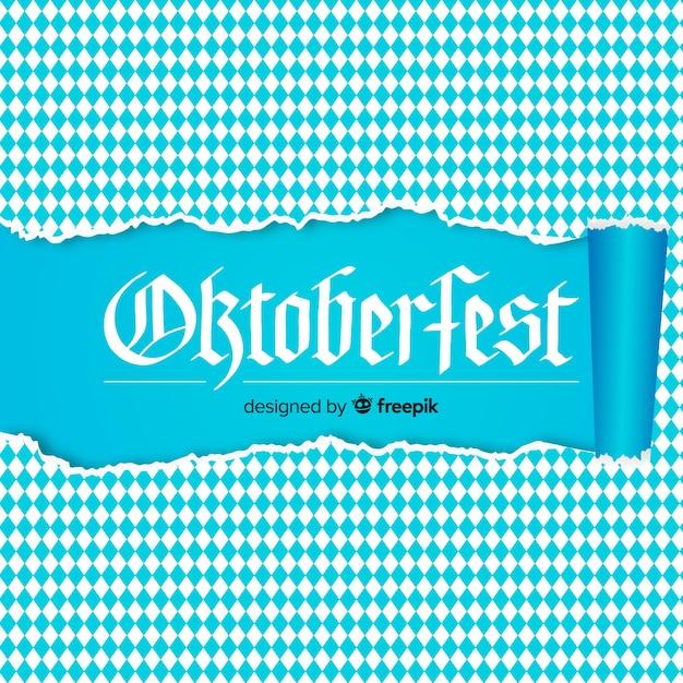 Fondo de oktoberfest blanco y azul con textura de papel roto vector gratuito