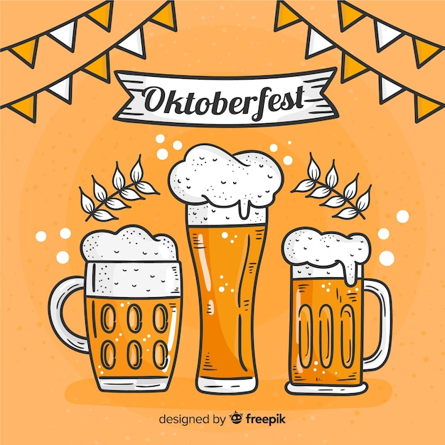 Fondo de oktoberfest dibujado a mano vector gratuito