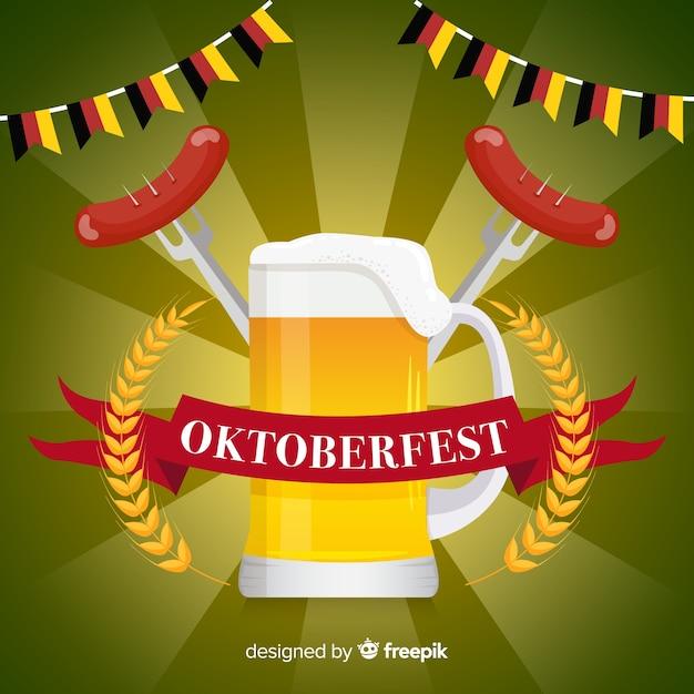 Fondo del oktoberfest en diseño plano con cerveza vector gratuito