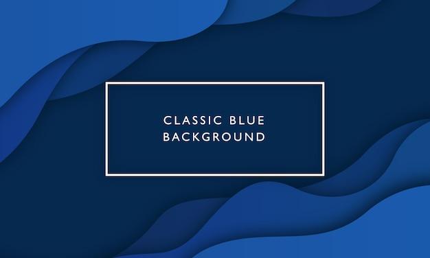 Fondo de onda azul clásico con estilo de corte de papel superpuesto Vector Premium