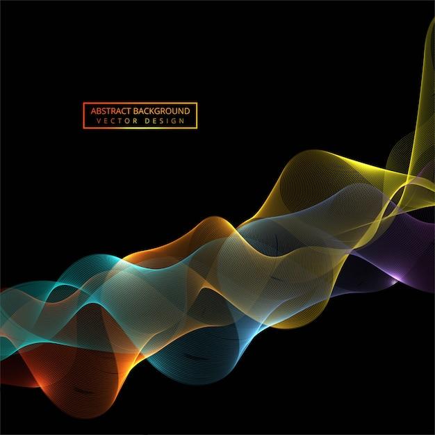Fondo de onda brillante elegante colorido que fluye Vector Premium