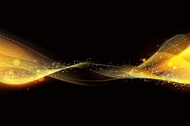 Fondo de onda brillante con partículas brillantes vector gratuito