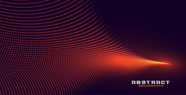 Fondo de onda de partícula naranja abstracto brillante vector gratuito