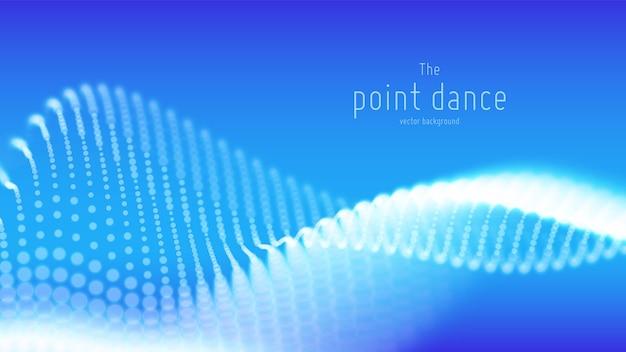 Fondo de onda de partículas azules abstractas vector gratuito