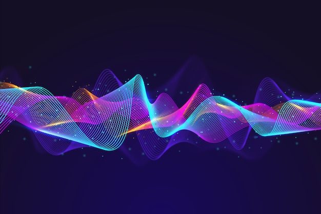 Fondo de onda de partículas de ecualizador abstracto vector gratuito
