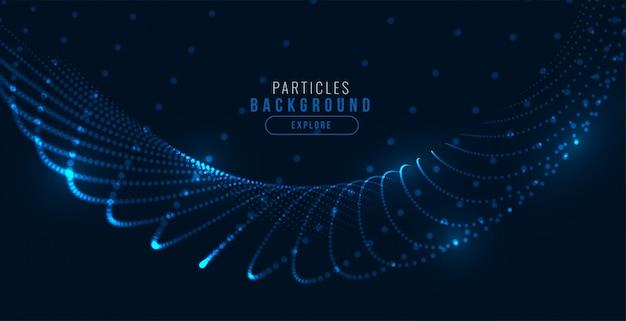 Fondo de onda de partículas de tecnología azul digital brillante vector gratuito