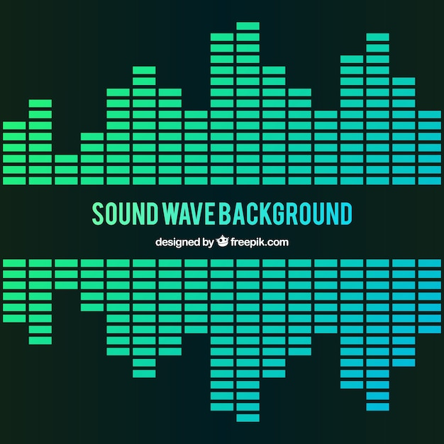 Fondo de onda sonora en tonos verdes vector gratuito