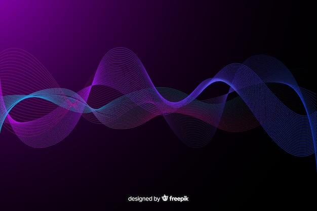 Fondo de ondas fractales brillantes de rejilla vector gratuito