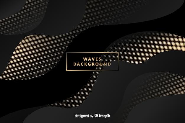 Fondo ondas oscuras con puntos vector gratuito