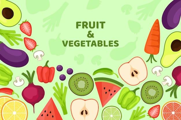 Fondo orgánico de frutas y verduras vector gratuito