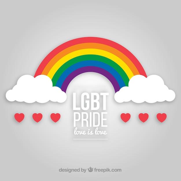 Fondo de orgullo lgbt con arco iris vector gratuito