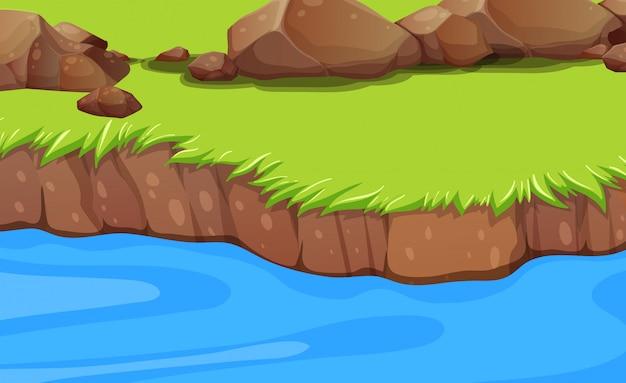 Un fondo de la orilla del río vector gratuito