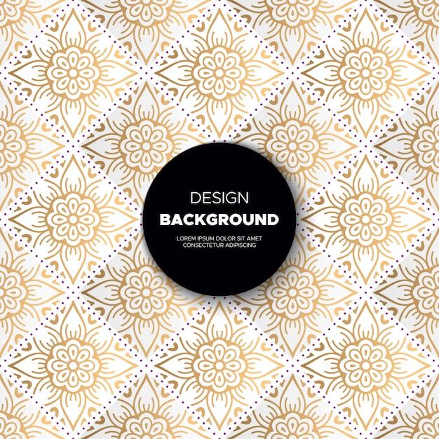 Fondo ornamental de lujo con diseño de mandala en color dorado. Vector Premium