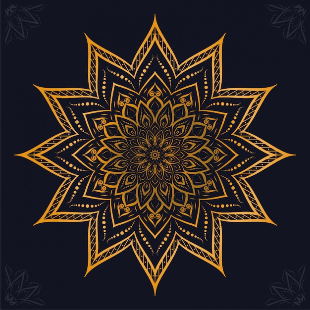 Fondo ornamental de lujo mandala arabesco Vector Premium
