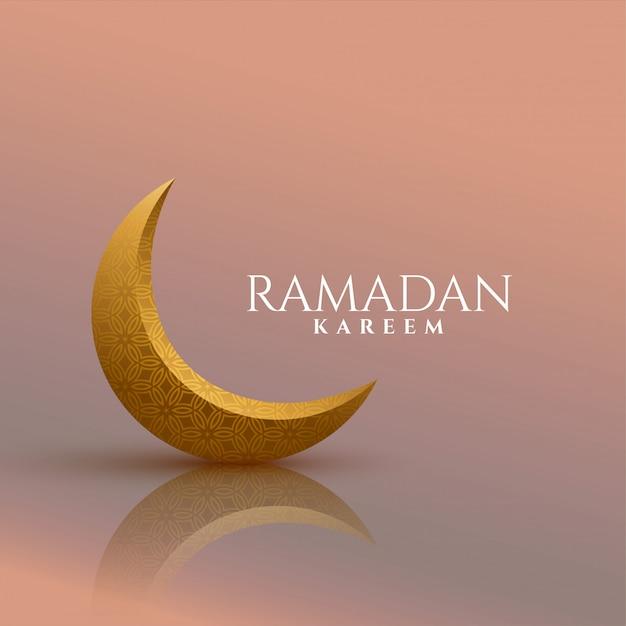 Fondo de oro de la luna ramadan kareem 3d vector gratuito