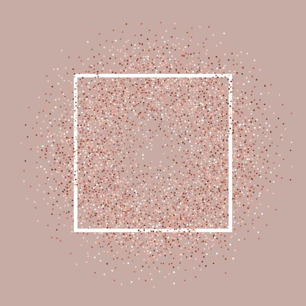 Fondo de oro rosa brillo con marco blanco vector gratuito