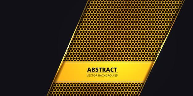 Fondo oscuro de lujo con fibra de carbono hexágono dorado. fondo abstracto con líneas doradas luminosas. telón de fondo de lujo moderno y futurista. . Vector Premium