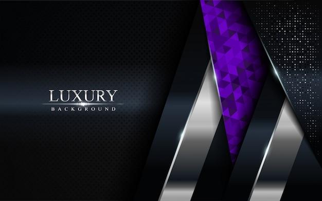 Fondo oscuro de lujo con líneas azules, moradas y plateadas Vector Premium