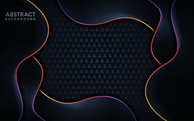 Fondo oscuro moderno con línea colorida del arco iris. Vector Premium
