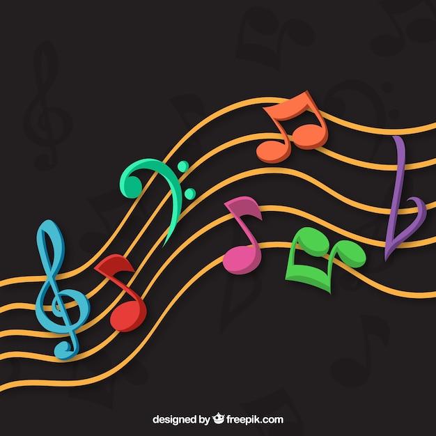 Fondo oscuro con notas musicales coloridas | Vector Gratis