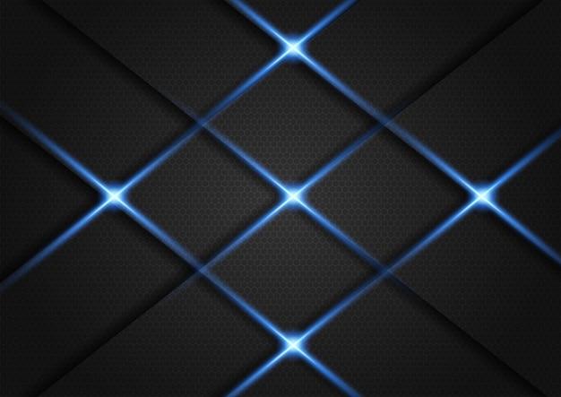Fondo oscuro superpuesto capa con brillos plateados y luz azul Vector Premium