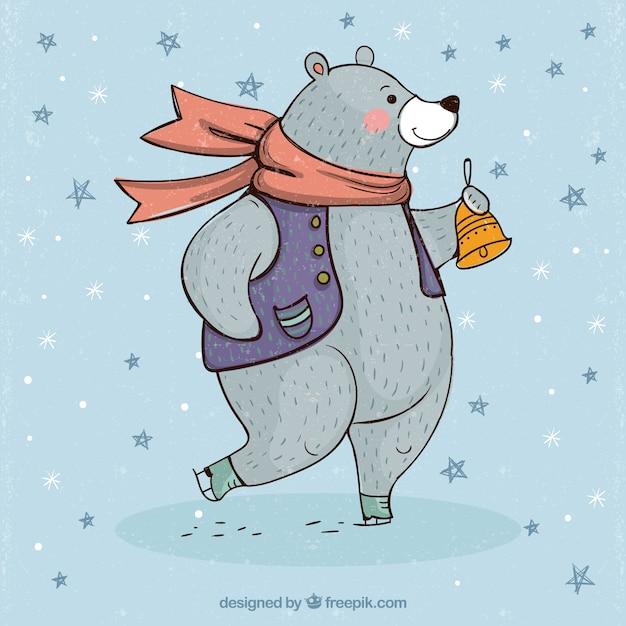 Fondo de oso con ropa de invierno vector gratuito
