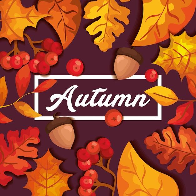 Fondo otoñal con hojas y frutos secos vector gratuito