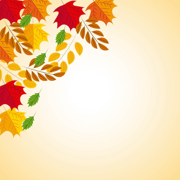 Fondo otoñal con hojas vector gratuito