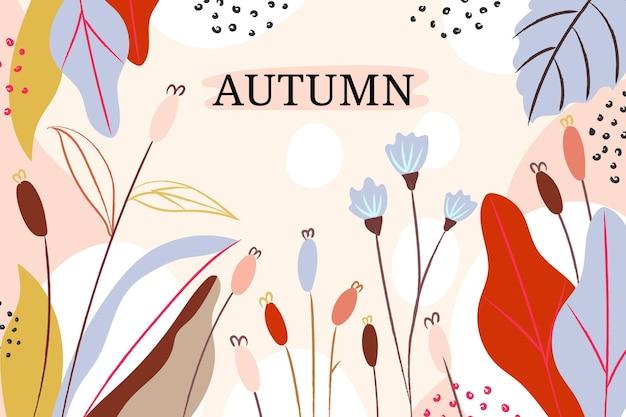 Fondo otoño acuarela con hojas y flores vector gratuito
