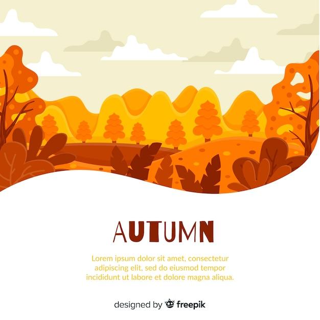 Fondo de otoño co hojas en diseño plano vector gratuito