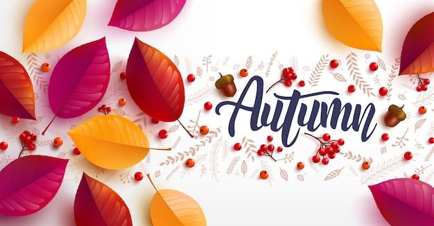 Fondo de otoño decorado con hojas de colores otoñales para cartel y plantilla de banner Vector Premium